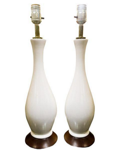 Pair, Mid Century Off White Lamps