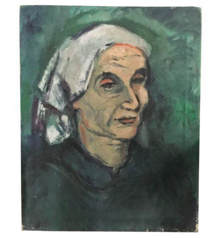 Old Oil Painting, Portrait - Woman in Kerchief