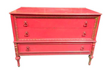 Old Pink Chest of Drawers, Dresser, Signed