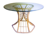 Mid Century Rattan Table base w/Beveled Glass