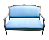 Mid Century French Settee in Blue