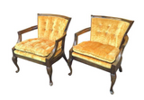 Pair, Mid Century Club Chairs in Gold Velvet