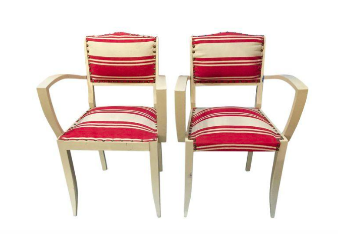 Pair, French 1930's Art Deco Arm Chairs in Red/White Stripe