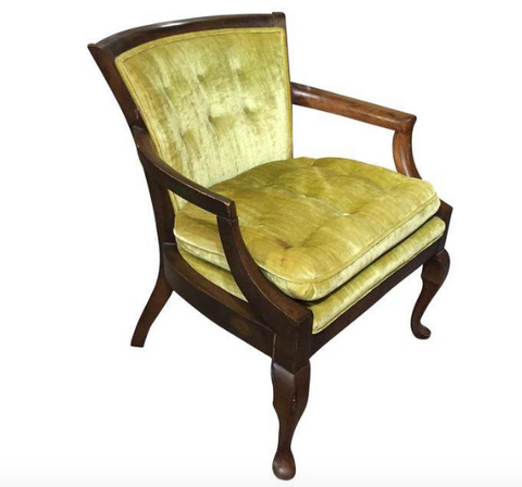Mid Century Velvet Arm Chair in Chartreuse