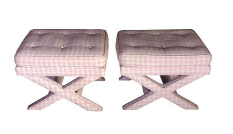 Pair, Mid Century Billy Baldwin Style X Base Benches