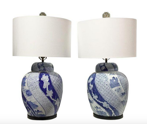 Pair, Mid Century Blue and White Asian Ginger Jar Lamps