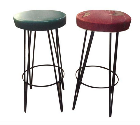 Pair, Mid Century Hairpin Leg Bar Stools