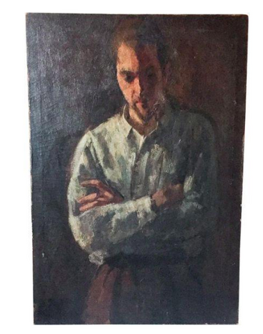 Large Vintage 1940's Oil Painting of a Man