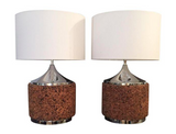 Pair, Mid Century Cork and Chrome Lamps