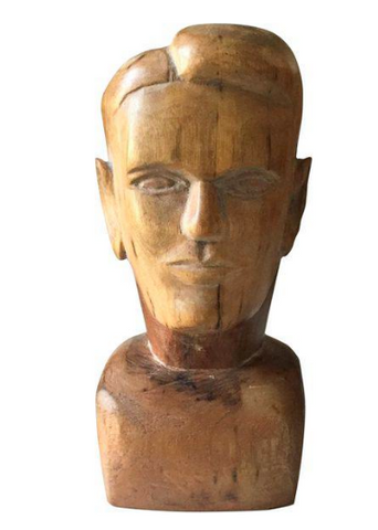 Vintage American Folk Art Wood head, Bust, Sculpture