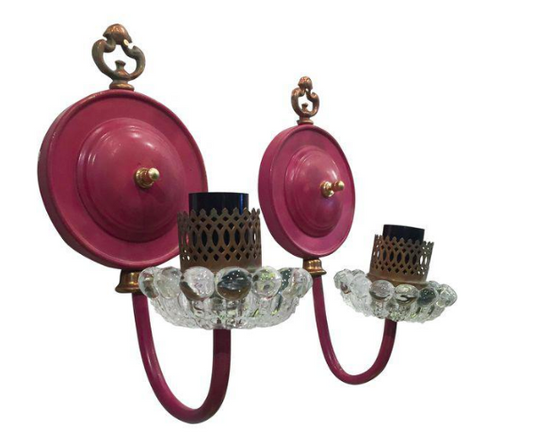 1940's Pink Sconces, Glass Bobeches