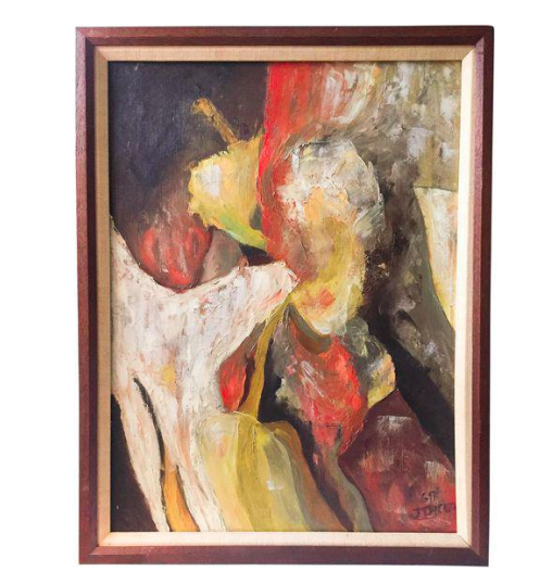 Mid Century Figural Abstract, Oil on Canvas, J Dicicco