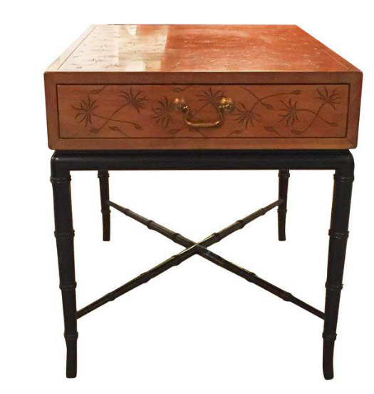 Mid Century Signed Kittinger Thistle Incised Side Table