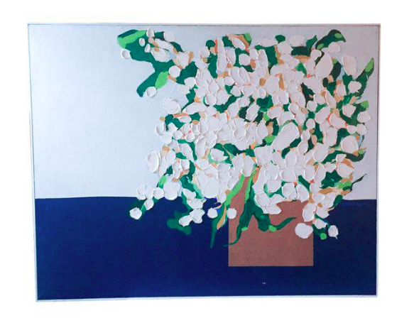 Large Mid Century Floral Painting - Warren