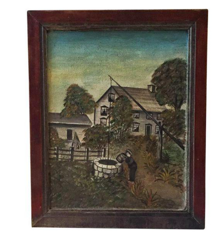 19th Century Oil on Canvas - Naive Folk Art Painting of Homestead