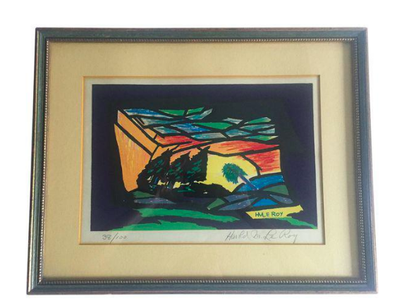Listed Artist Harold LeRoy Surrealist Landscape, Signed
