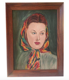 Lady With a Kerchief - Vintage Oil Painting, Portrait