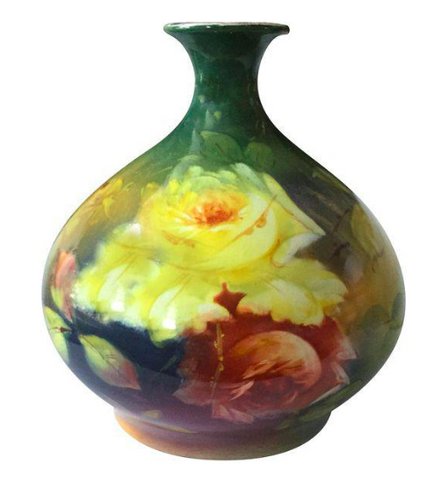 Mid Century Yellow Roses Floral Vase