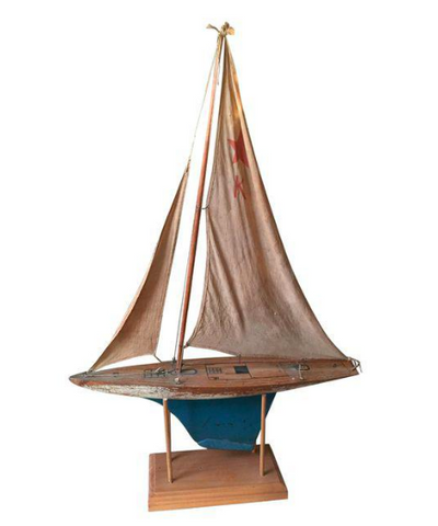 Early Keystone Wood Pond Boat - Original Sails, Signed