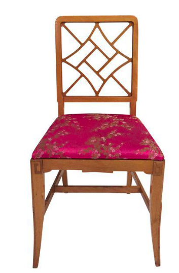 1940's Fretwork Greek Key Side Chair, Hot Pink Asian Upholstery