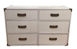 Mid Century White Campaign Chest of Drawers, Dresser