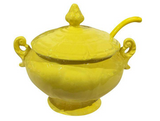 Mid Century Yellow Lidded Tureen with Spoon