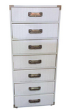 Mid-Century White Campaign Style High Boy Chest of Drawers