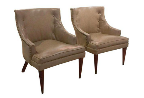 Pair, Mid Century Swoop Arm Chairs with Nail Heads, Pencil Legs
