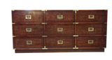 Mid Century Signed Drexel Campaign Chest of Drawers, Dresser