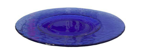 Mid Century Blue Glass Serving Plate