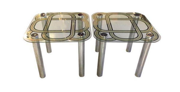 Pair, Mid Century Glass and Chrome Side Tables, Graphic Tops