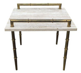 Mid Century Italian Travertine Marble Faux Bamboo Side Table