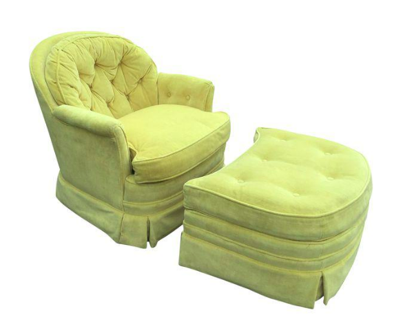 Mid Century Drexel Heritage Tufted Swivel Club Chair and Ottoman