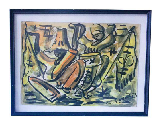 Mid-Century Antiguan Painting - Dance