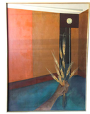 Large Mid Century 1961 Jones Painting, Signed - Holding Wheat Under Time
