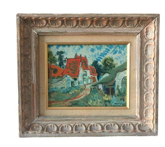 Impressionist House Landscape Oil on Canvas Painting by Dawes