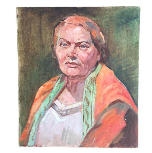 Portrait - Oil Painting - Woman in Orange Shawl