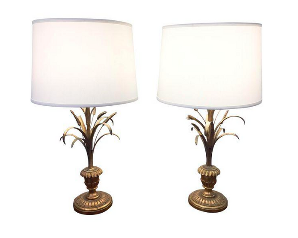 Pair, Hollywood Regency Mid Century Wheat Leaf Gilt Lamps