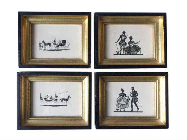 Mid Century Set of 4 Framed Silhouettes