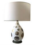 Italian Mid-Century Coin Accented Glass Table Lamp, Parzinger Era