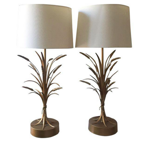 Frederick Cooper Mid-Century Hollywood Regency Wheat Sheaf Lamps- A Pair