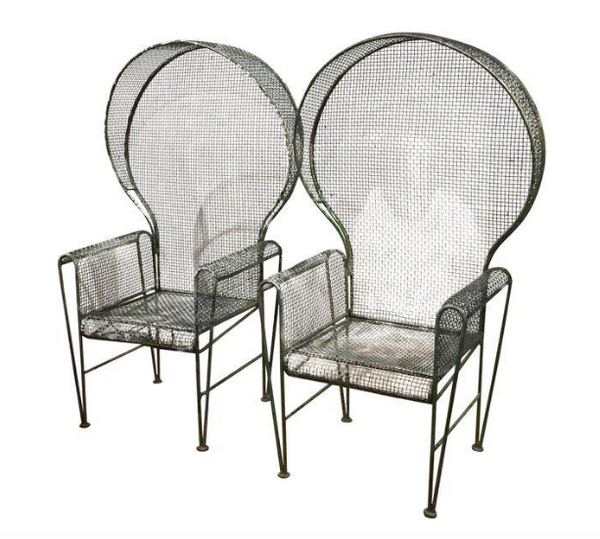 Pair, Mid Century Hooded Metal Mesh Garden Chairs