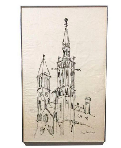 Mid Century Church Drawing, Signed