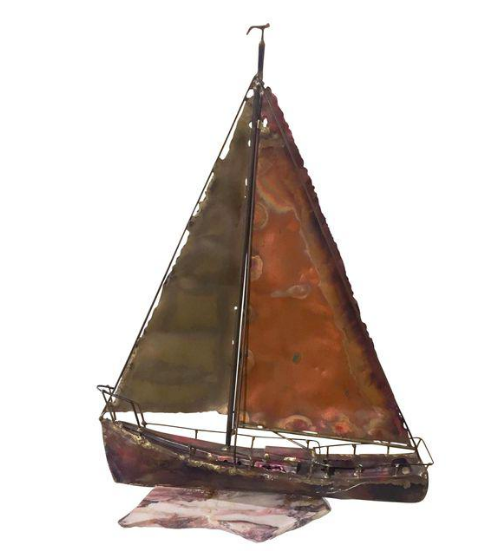Mid Century Mixed Metal Brutalist Sail Boat Sculpture