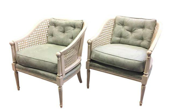 Pair, Mid Century Caned Club Chairs