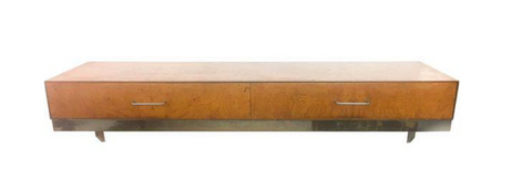 Mid Century Burlwood Floating Console Table, Desk