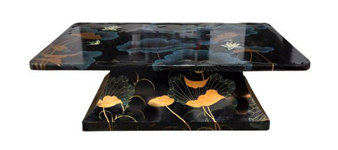 Mid Century Asian Black Lacquered Coffee Table