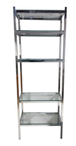 Mid Century Chrome Bookcase, Etagere