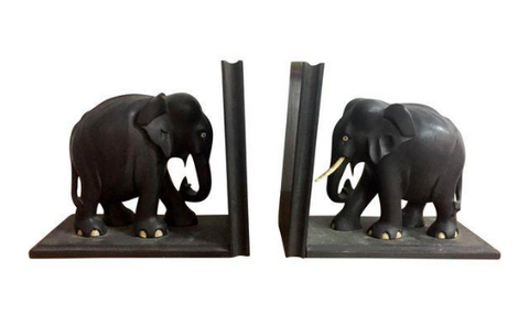 Pair, Early Wood Elephant Bookends