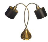 Mid Century Brass Curvy Double Arm Table Lamp  Price: